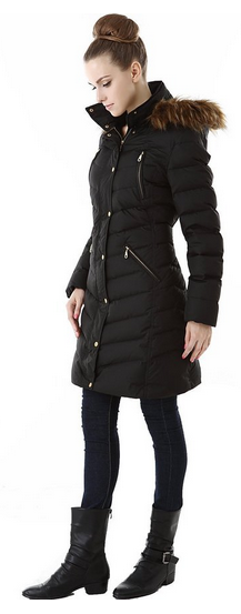 "Jessie G.'s - ""Alicia"" Quilted Down Coat w/ Detached Hood"