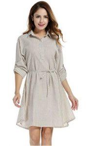Meaneor Women's Striped Linen Shirt Dress with Waist String
