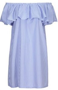 Clothink Women Blue Stripes Off Shoulder Ruffle Shift Dress