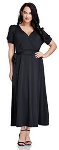 LookbookStore Women's Plus Size Black V Neck Short Sleeves Long Maxi Dress