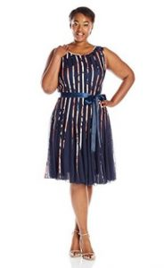 S.L. Fashions Women's Mesh Dress with Satin Trim