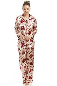 Camille Women's Ladies Gold Satin Pajama Set With a Red Floral Print