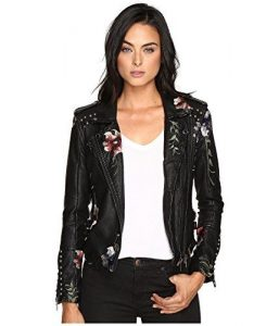 Blank NYC Floral Embroidered Motorcycle Jacket