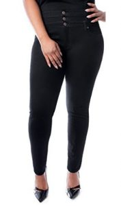 K.Z Womens Plus Size High Waisted Black Stretch Skinny Denim Jeans Pants