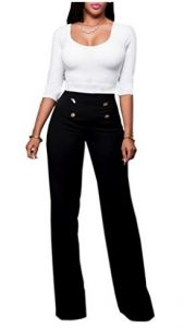 Womens High-waisted Wide Leg Elegant Button Design Pants from Ninimour
