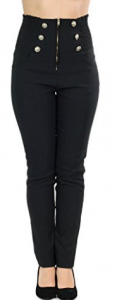 Sidecca Women's Retro Rockabilly 6-Button High Waist Smock Pant