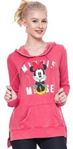 Disney Mickey & Minnie Mouse Hoodie Juniors Pullover Sweatshirt