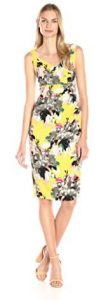 Maggy London Women's Peony Bouquet Printed Crepe Sheath Dress