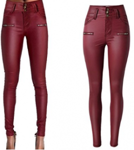PU Leather Pants For Women Sexy Tight Stretchy Rider Leggings Black Red