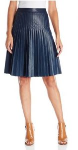 Rebecca Taylor Women's Faux Leather Pleat Skirt