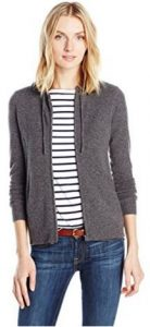 Sofia Cashmere Women's Hi Lo Hoodie with Rib Detail