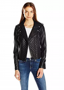 Levi's Women's Faux Leather Asymmetrical Diamond Quilted Motorcycle