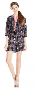 NY Collection Women's 3/4 Sleeve Printed Romper
