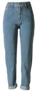 Echoine Women's High Waist Loose Fit Solid Straight Leg Jeans Boyfriend